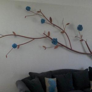 branche été rose bleue